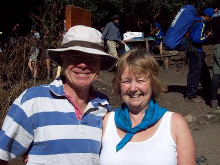 Presenter Nick Bailey with Frances Hilton.