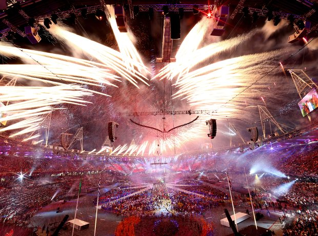Fireworks during the Olympics London 2012 Closing