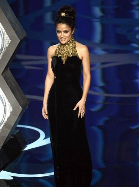 Salma Hayek on stage at the Oscars 2013