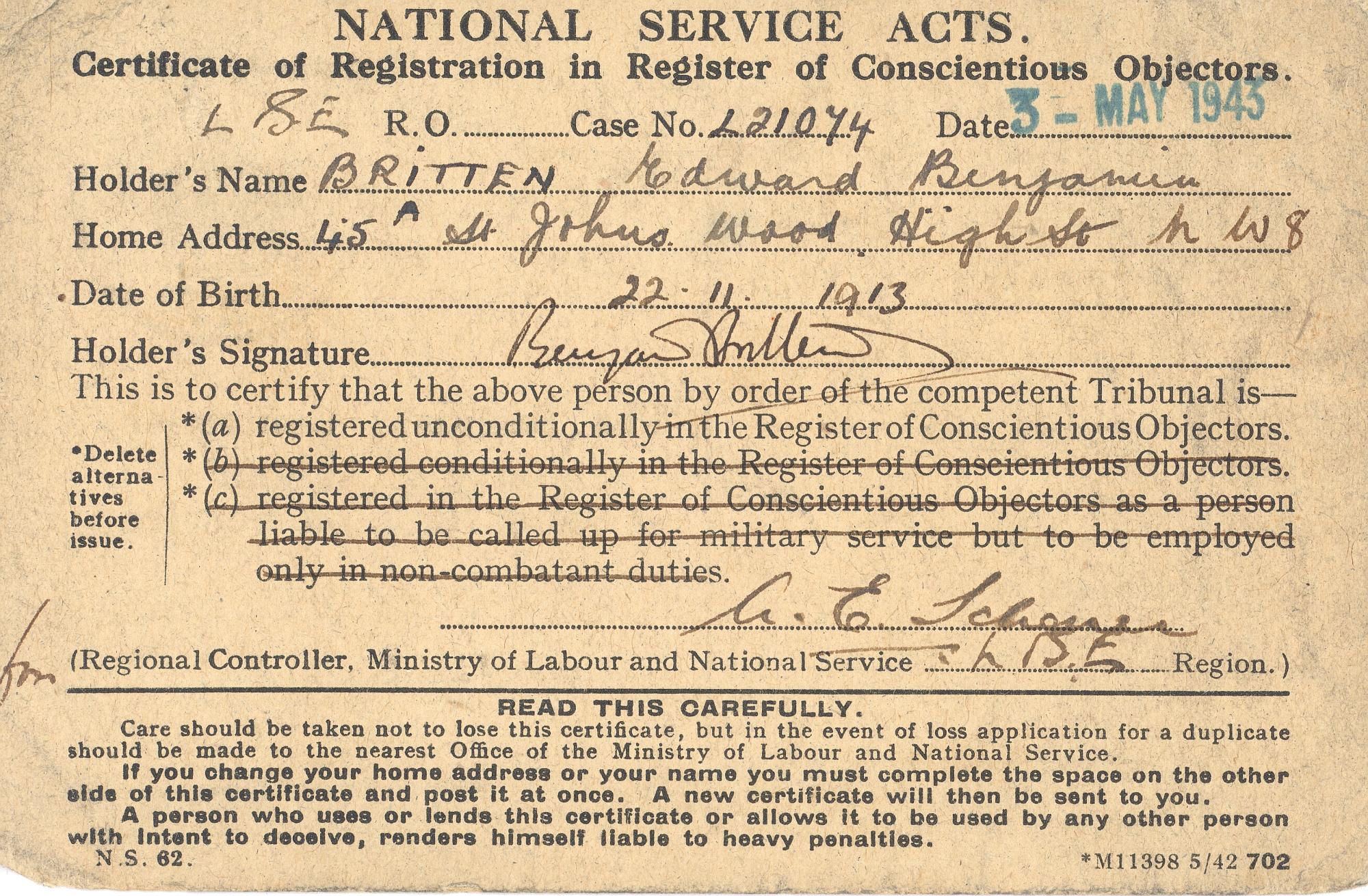 Benjamin Britten conscientious objector certificat
