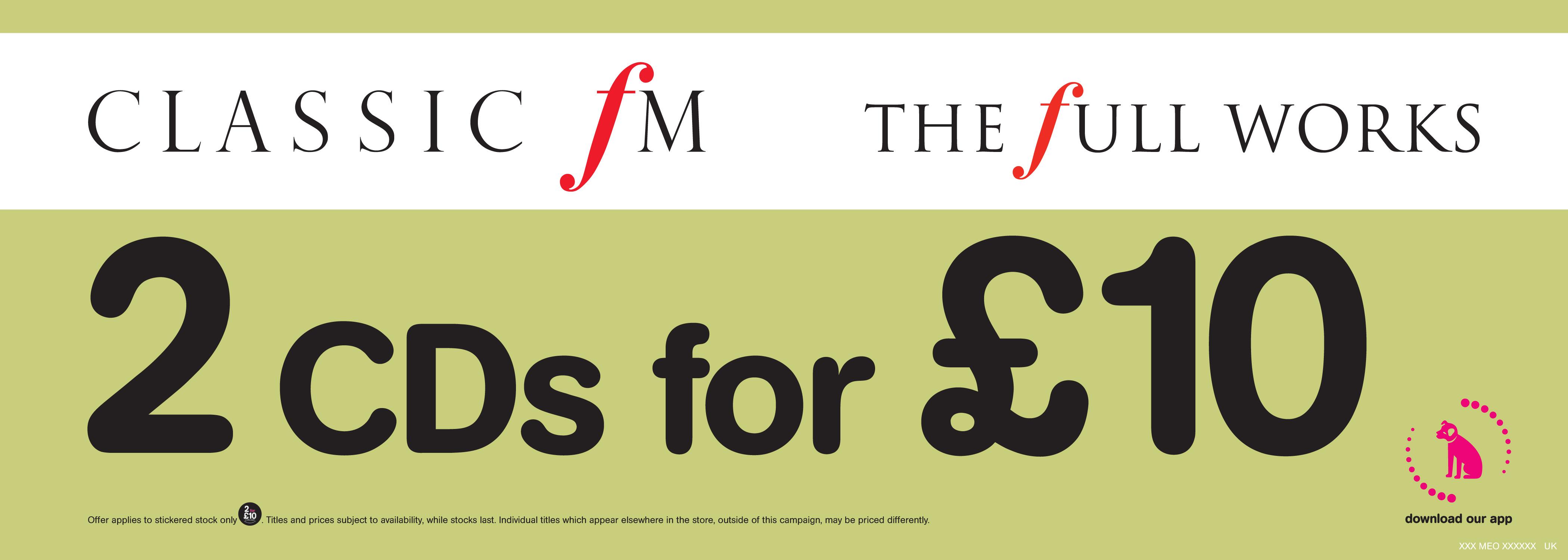 2 Full Works CDs for £10 at HMV