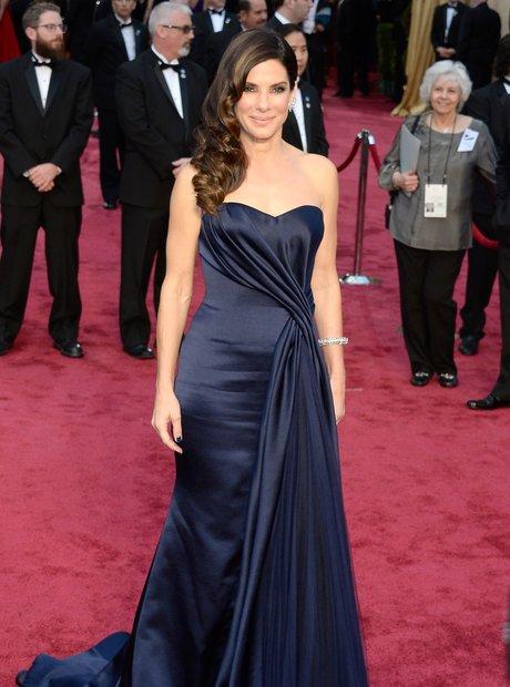 Sandra Bullock at the Oscars 2014 red carpet