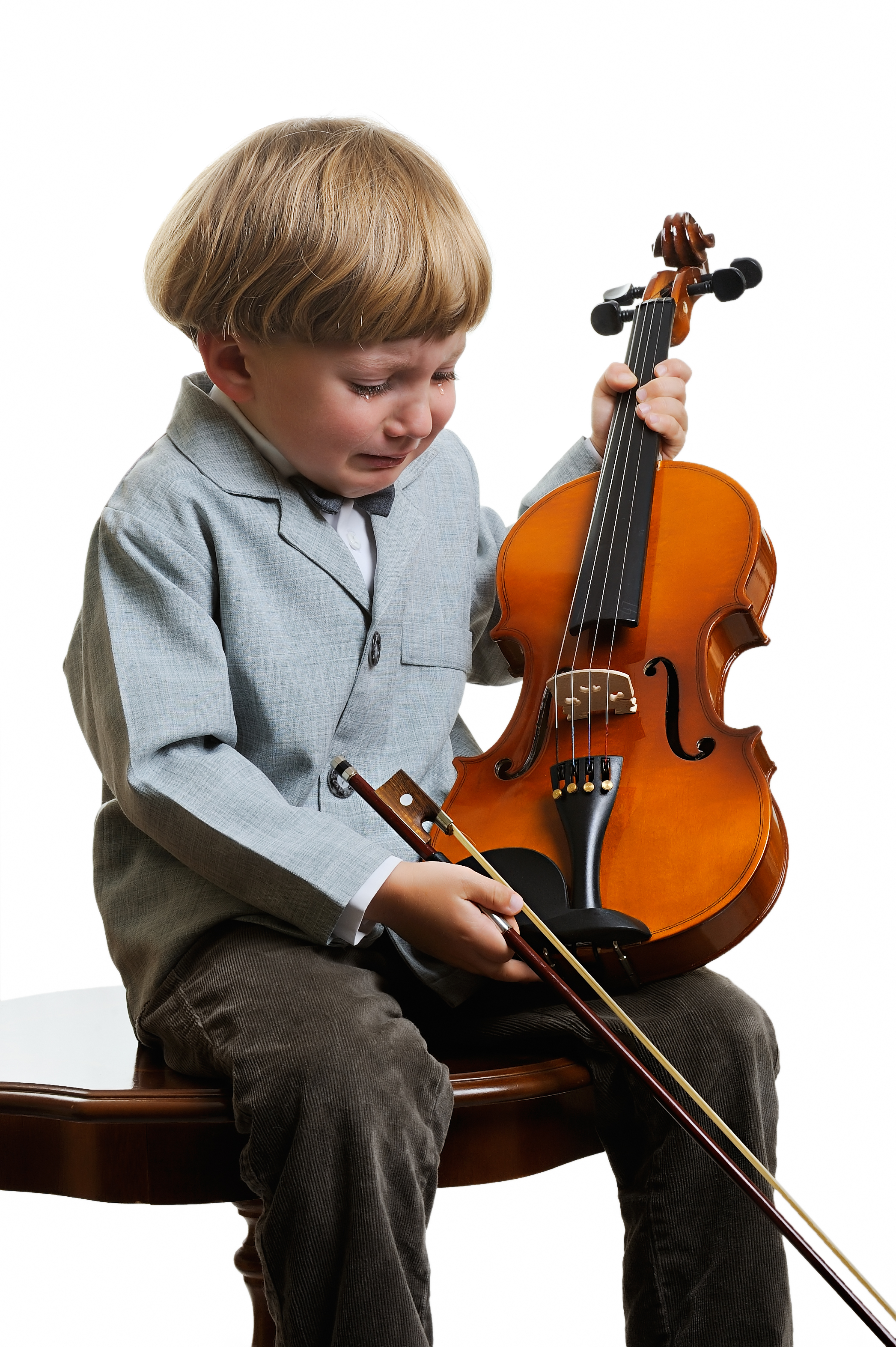 Boy with Violin crying