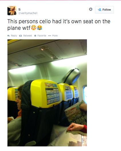 cello on plane