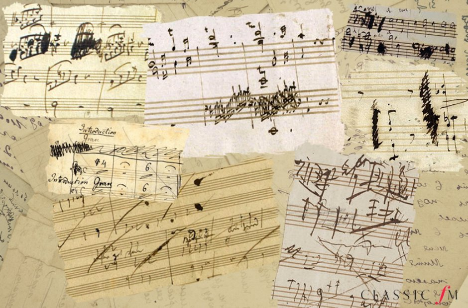 Composers crossing out work manuscripts
