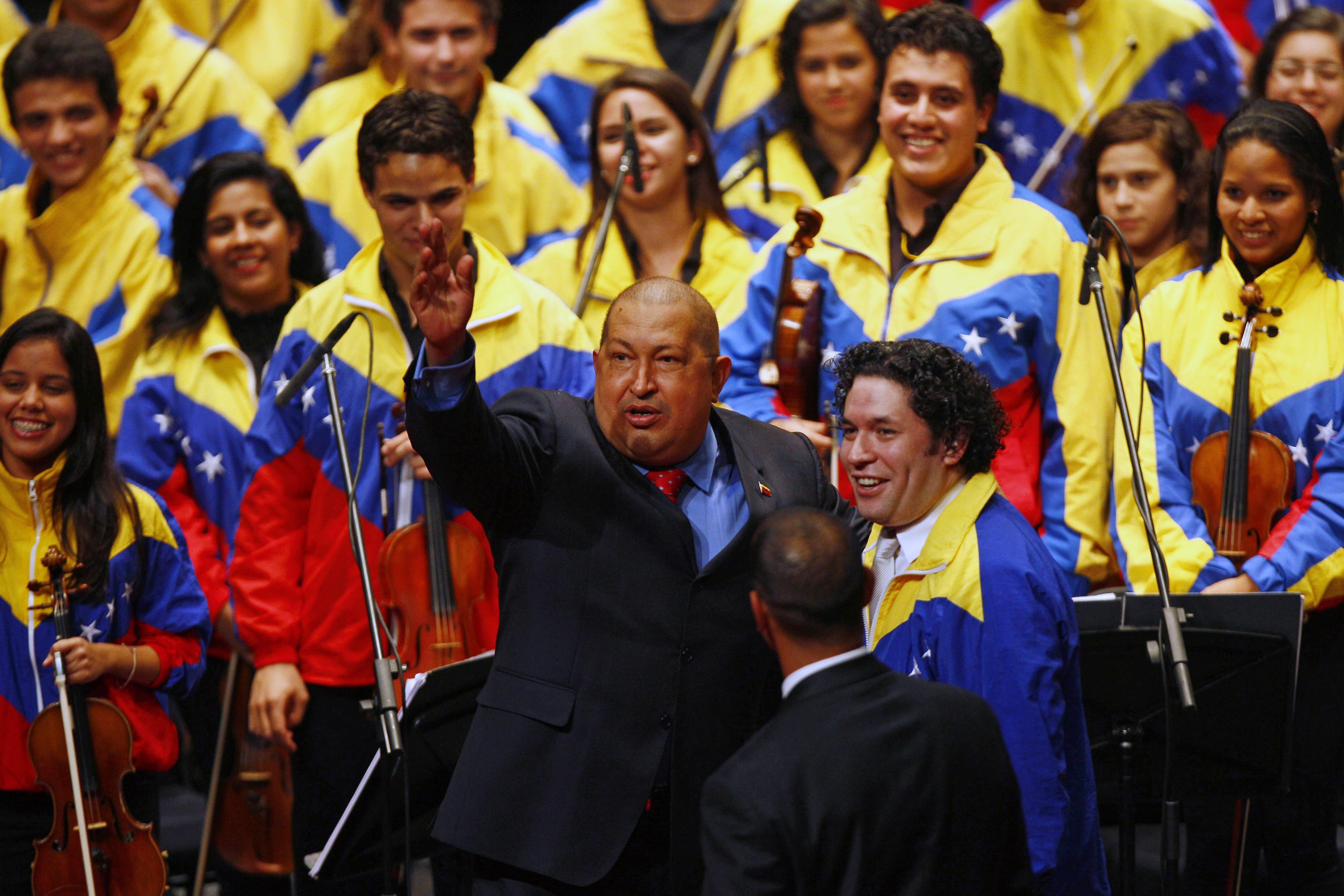 Gustavo Dudamel with Hugo Chavez