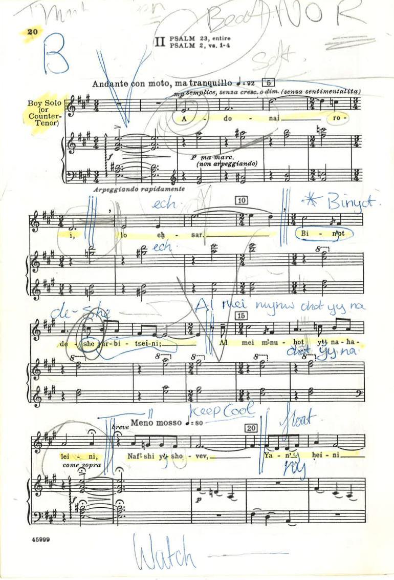 Aled Jones Chichester Psalms score