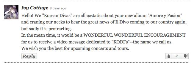 Il Divo fan message KoDis