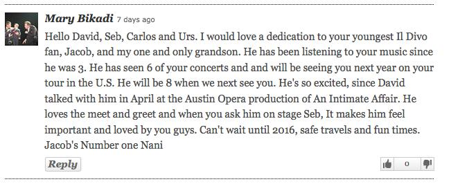 Il Divo fan message Mary and Jacob