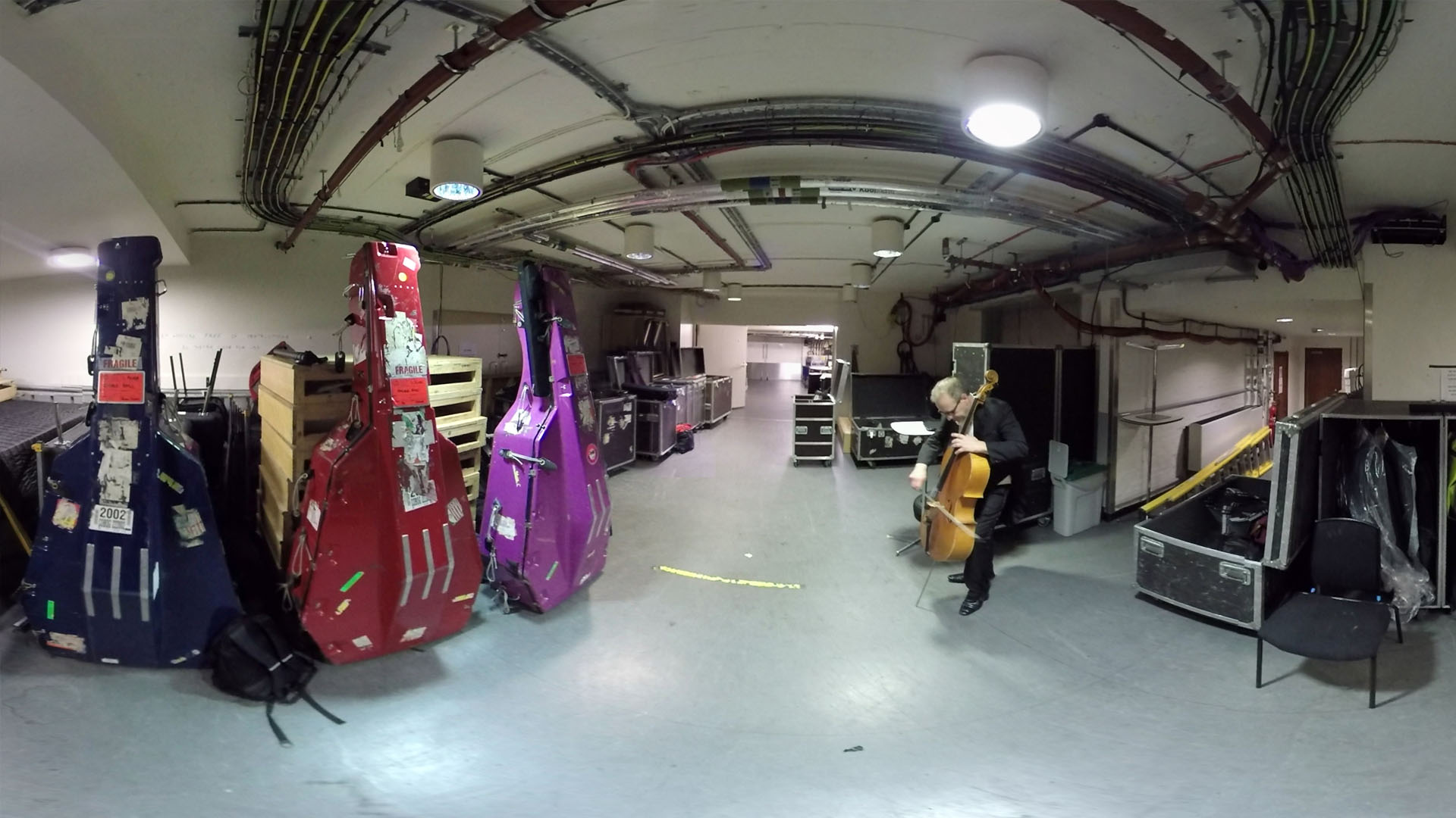 Virtual Orchestra Philharmonia cellos backstage