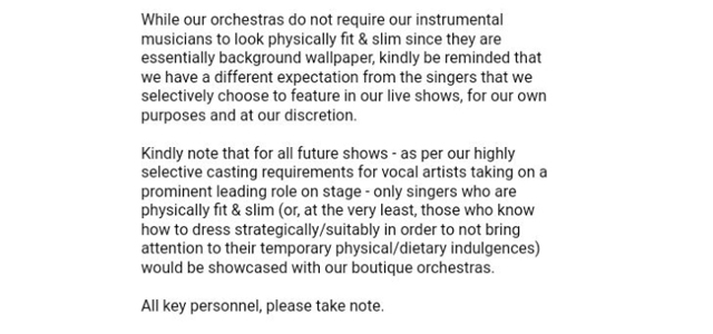 Fat shaming email Toronto orchestra