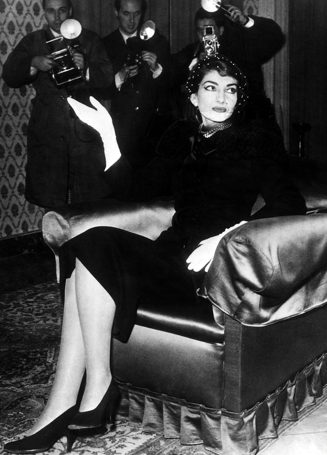 Maria Callas at a press conference in 1958