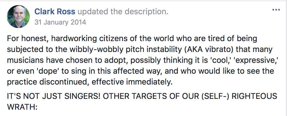 Vibrato is a bizarre affection Facebook group
