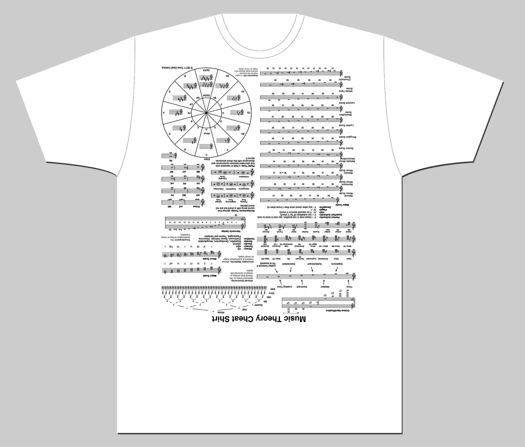 Music theory cheat shirt - Tone Deaf Comics