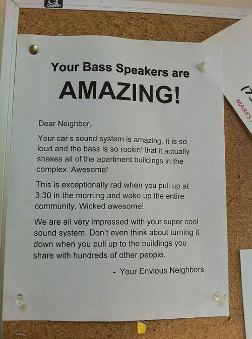 Bass speakers neighbour note