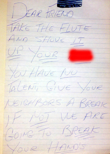 Funny flute neighbour note