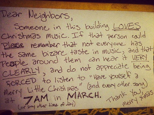 Funny neighbours Christmas music note