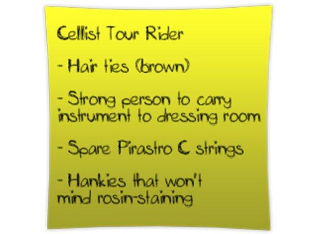 cellist tour rider