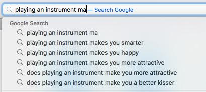 Google playing an instrument search