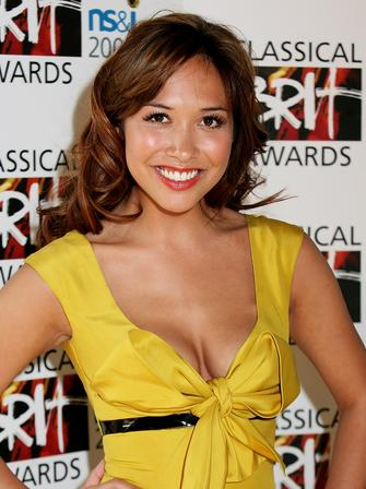 Myleene Klass in Yellow at the Classical Brits
