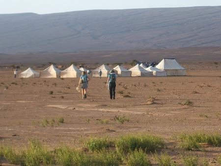 Trek sahara - walking into camp