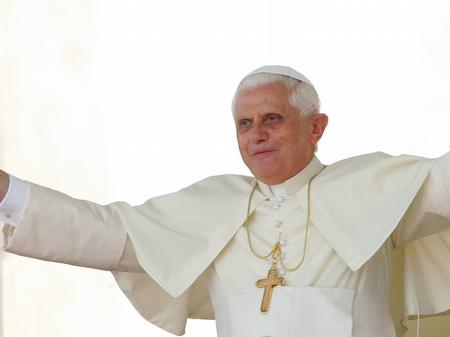 Pope Benedict with outstretched arms