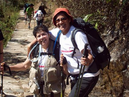 Bunney and Shabnam en route to Machu Picchu