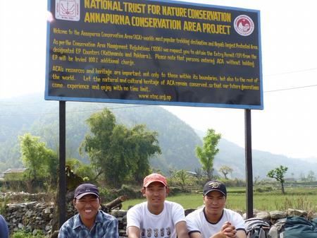 The porters at the entrance to the National Park
