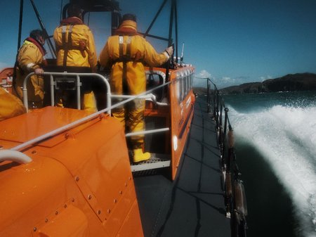 RNLI Baltimore crew out to sea