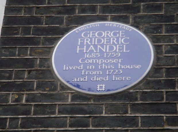 Handel's Blue Plaque in 25 Brook Street, London