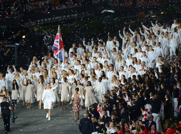 Chris Hoy leading Team GB Opening Ceremony