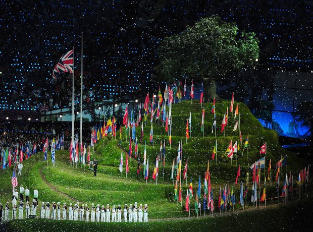 Olympic Opening Ceremony flags hill
