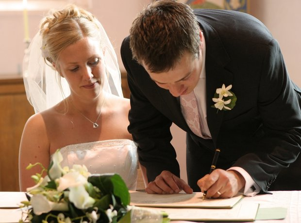 sigining wedding register
