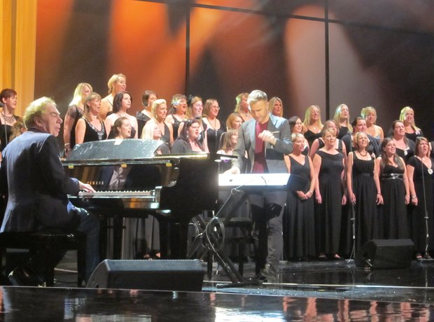 Gary Barlow rehearsing with the Military Wives for