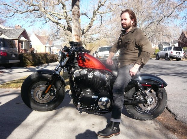 alfie boe on motorbike