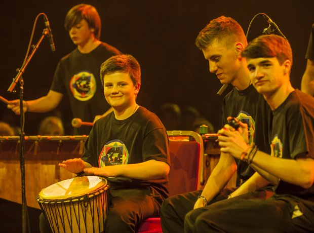Portchester Marimba Ensemble in rehearsal at Schoo