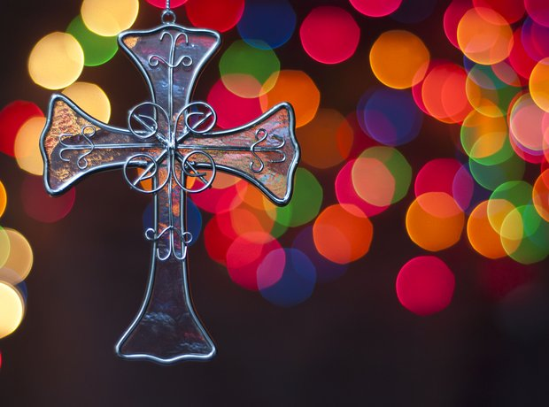 Christmas cross and lights