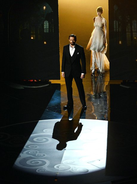 Hugh Jackman and Anne Hathaway on stage at the Osc