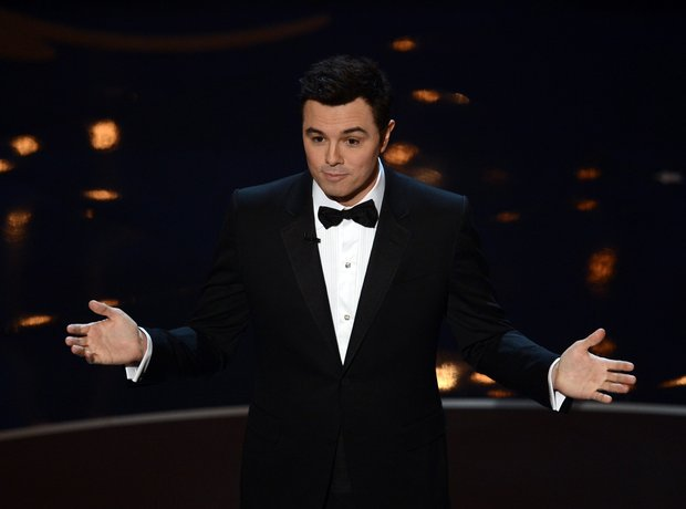Seth MacFarlane on stage at the Oscars 2013