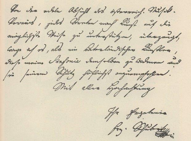 Schubert letter 9th symphony