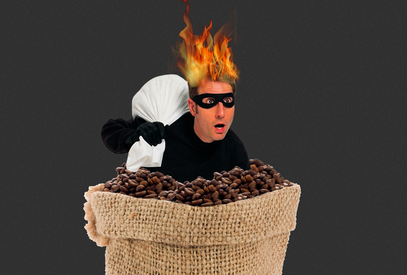 coffee robber on fire
