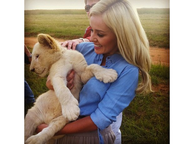 Katherine Jenkins and lion cub