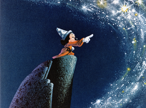 Mickey Mouse points at stars