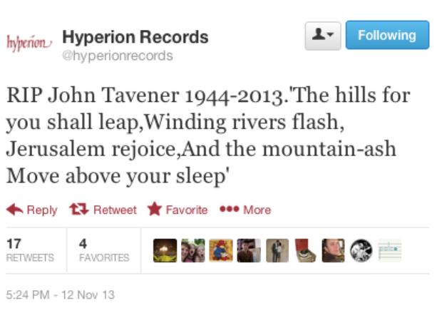 John Tavener Tribute