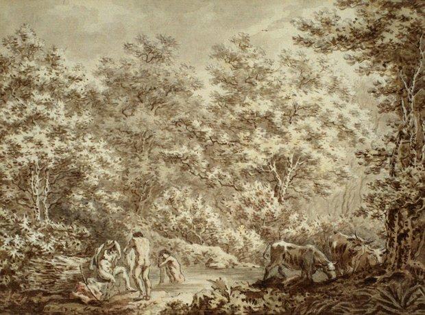Johann Sebastian Bach the younger painter Badende Hirten in einem Wald