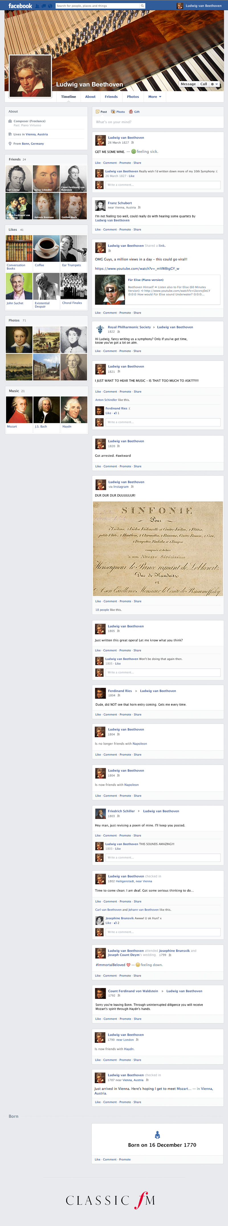 if composers had facebook beethoven s profile classic fm
