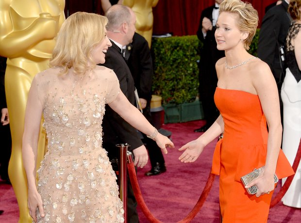 Cate Blanchett and Jennifer Lawrence at the Oscars