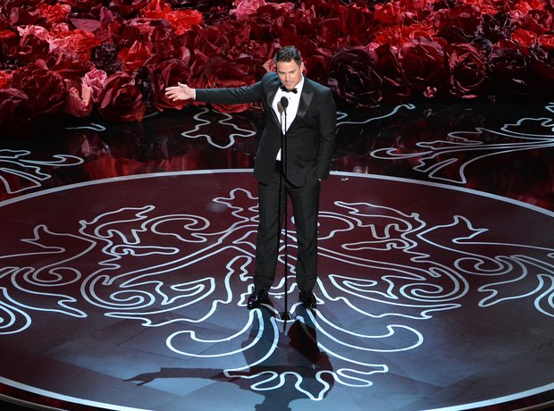 Channing Tatum at the Oscars 2014 on stage