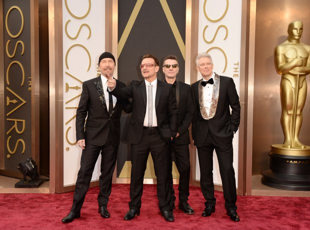 U2 at the Oscars 2014 red carpet