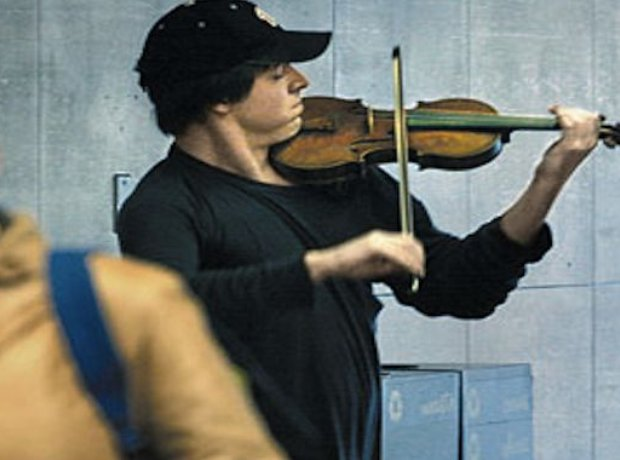 Joshua Bell busking Washington subway metro violin